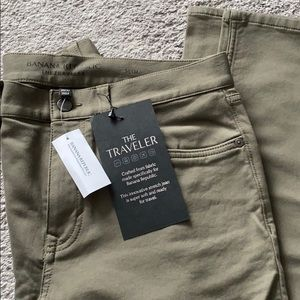 Men's olive green denim stretch pant